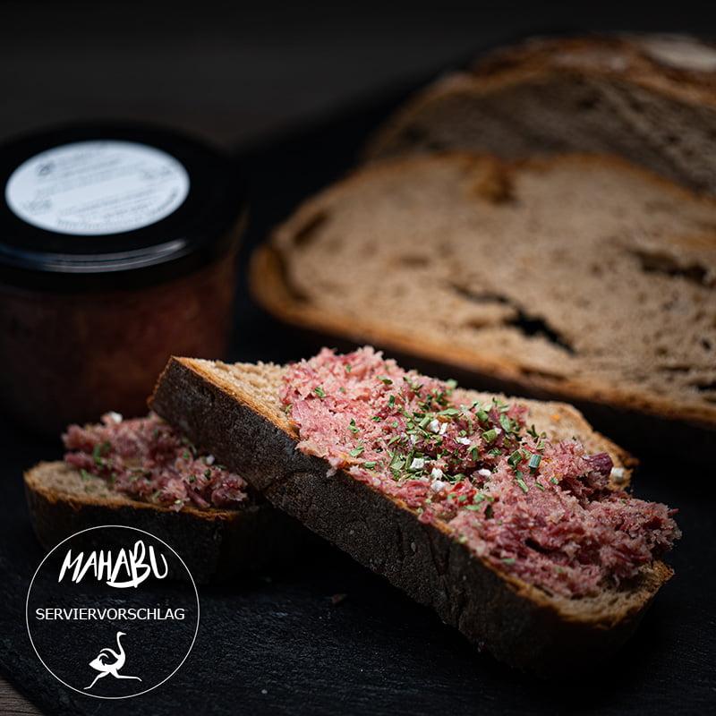 MAHABU Strauß Sülze auf Brot