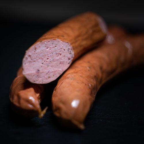 MAHABU Strauß Bockwurst   Straußenbockwurst cut